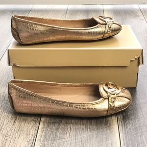 Michel Kors Fulton Moc Embossed Metallic PU Gold